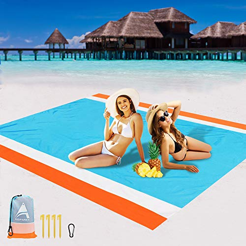 """AISPARKY Beach Blanket, Beach Mat Outdoor Picnic Blanket Large Sandproof Compact for 4-7 Persons Water Proof and Drying Beach Mat Nylon Pocket Picnic for Outdoor Travel (78"""" X 81"""")"""