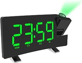 Digitale projectie-wekker, LCD-gebogen schermprojectie, FM-radio met 2 alarmen, USB-poortprojectie-wekker, Green