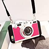 New Emily in Paris Phone Case Vintage Camera, Modern 3D Vintage Style Camera Design Silicone Cover with Long Strap Rope Compatible for iPhone 11 Pro/X/XS/MAX with Long Strap Rope Red iPhone7/8