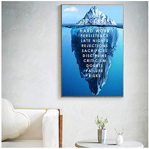 HYFBH Lienzo Arte de la Pared Iceberg of Success Cartel de Lienzo Paisaje Cita Motivacional Impresión nórdica Cuadro de Pared Inspirado Moderno 50x70cm Sin Marco