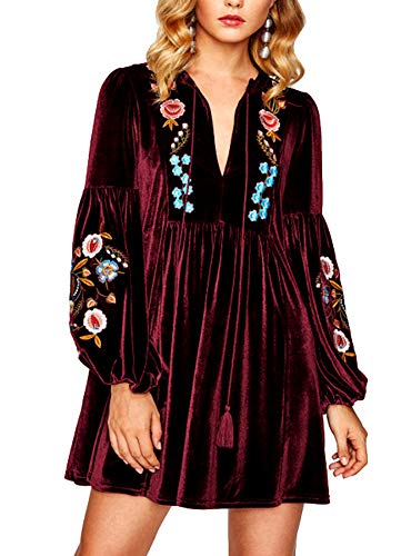 Tasseled Tie Bishop Sleeve Embroidery Velvet Dress Wine Red Long Sleeve V Neck A Line Fall Women Dresses (4XL, Wine Red)