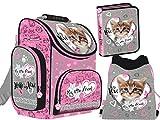 3-teiliges Schulranzenset My Little Friend Ranzen Schulranzen mit Federtasche, Turnbeutel für Kinder Katze