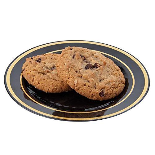 15 elegante Teller aus Hartplastik | Dessertteller | Servierteller aus Kunststoff – schwarz mit goldenem Design – 15 cm