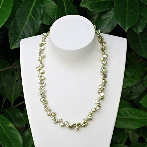 LaCatella Keshi Perlenkette hell grün Süßwasser Halskette Damen Silber 925 vergoldet Länge 48 cm