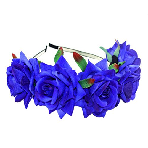 HENGSONG Damen Mädchen Rose Blume Haarreif Blumenstirnband Garland Festival Hochzeit Braut Brautjungfer Haarband Kopfband Kranz (Marineblau)