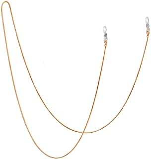Jmkcoz Stainless Steel Eyeglass Holder Chain 80cm Eyeglass Necklace Chain, Gold