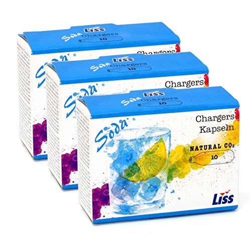 Liss 8 Gram CO2 Cartridges - Soda Seltzer Chargers 30 Count For Use With Isoda Mastrad Soda Sparkle UKEG 64 and CO2 Powered Hobby Cars