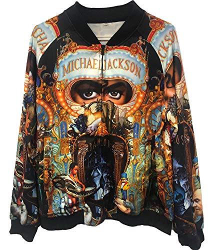 Michael Jackson Dangerous Jacken Mäntel 3D Druck Sweatshirt Tops Punk Lässige Dünne Mäntel (M, Dagerous Jacken)