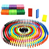 Oopsu 480 PCS Colorful Wooden Domino Blocks,Domino Blocks Racing Toy Game Racing for Birthday Party