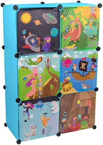 KEKSKRONE Großer Kinderschrank Bunte Motiv-Türen - DIY Stecksystem - 6 Module je 37 x 37 x 37 cm, Blau | Kinderzimmer-Schrank | Kinderkleiderschrank | Baby-Regal | Spielzeugkommode