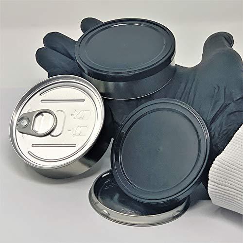 Pressitin - 20 latas de sellado Pressitin Self Seal, Tuna Tins de 100 ml, rellenables, incluye tapa de plástico negro y guantes de plástico desechables negros.