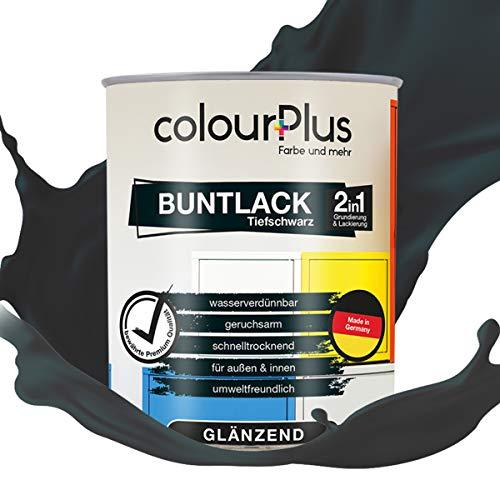 colourPlus® 2in1 Buntlack (750ml, RAL 9005 Tiefschwarz) glänzender Acryllack - Lack für Kinderspielzeug - Farbe für Holz - Holzfarbe Innen - Made in Germany