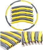 Hula Hoop de espuma acolchada con peso de 1,2 kg, 96 cm de ancho, se divide en 8 piezas de equipo portátil de ejercicios de fitness (color amarillo)