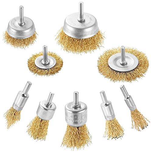 YSTCAN 9pcs Steel Wire Brush Wheel Brass Coated Wire Brush Wheel & Cup Brush Set Wire Brushes Drill Bit Set with 1/4-Inch Shank for Various Drills Removal of Rust Corrosion Paint Polishing