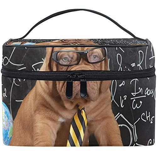 Mastiff Puppy dans des Verres avec des Livres Sac cosmétique, capacité et Sacs de Maquillage réglables Trousse de Toilette étanche