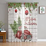Christmas Red Truck Sheer Curtains 84 Inch Length 2...