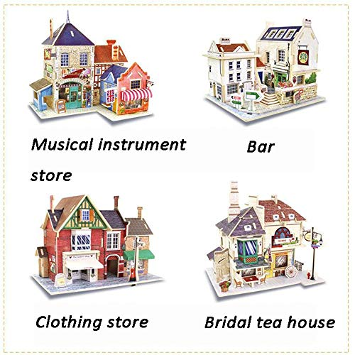 Kids Play Tools DIY Miniature Room Set-Woodcraft Construction Kit-Wooden Model Building Set-Mini House Crafts,Best Birthday Gifts Pretend Play ( Color : Bridal tea house , Size : 19.2x11.2x15cm )