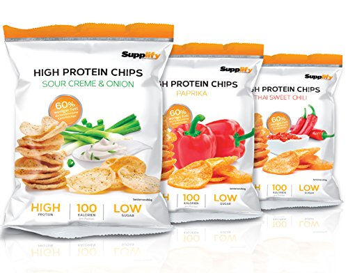 Supplify Protein Chips - Eiweiß Fitness Snack Mix Box, Whey Proteinpulver und Protein Riegel, ideal zum Abnehmen oder als Muskelaufbau Booster- 6x 50g, Mix Box (2x je Geschmack)