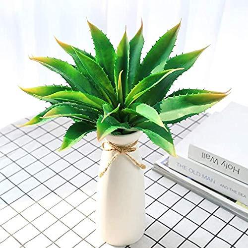 JUSTOYOU Plante artificielle Aloès vera - 30,5cm de large Pour décoration intérieure et extérieure, jardin et salle de bains Vert