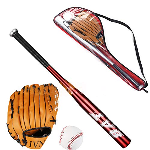 Yangzhilan Aluminium/Wooden Baseball Bat,Baseball Set, Baseball Bat+Baseball+Baseball Glove,39 Inch Security Baseball Bat and Ball Set Self Defense Youth Adult Outdoor Traing and Practise (Red)