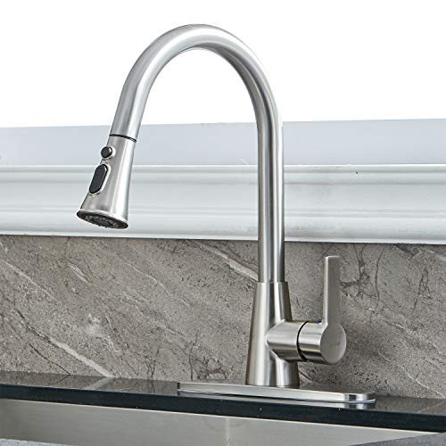Modern Single Handle High Arc Pull Down Brushed Nickel Kitchen Faucet,...