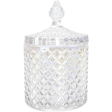 ガラス容器 コットンケース 綿棒入れ 小物入れ ガラスジャー キャニスター 蓋付き 透明 (17.5cm)