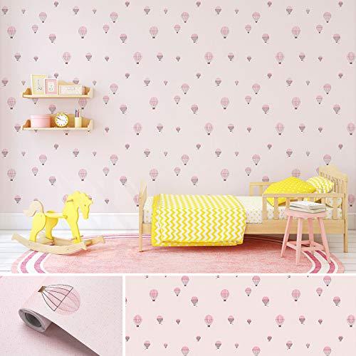 Wandtapete selbstklebend Kinderzimmer 60X500CM Verdickte Tapete Klebefolie Rosa Möbelfolie wasserfest Selbstklebefolie aus PVC Dekorfolie für Möbel/Wand/Kinderzimmer/Wohnzimmer