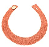Antonino De Simone Collar con cuentas de coral rosa del Pacífico (Linea Trama de Coral) Cierre con botón de plata 925. Rosa