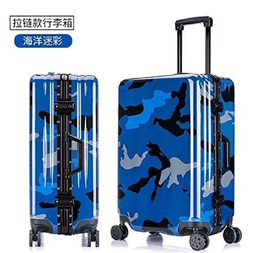 Gepäck Luggage Spinner Marke Travel Suitcase 100% Aluminium Rahmen Camouflage 20/24/26 Zoll Größe Army Style Qualität PC Rolling (Farbe : Marine Camouflage,...
