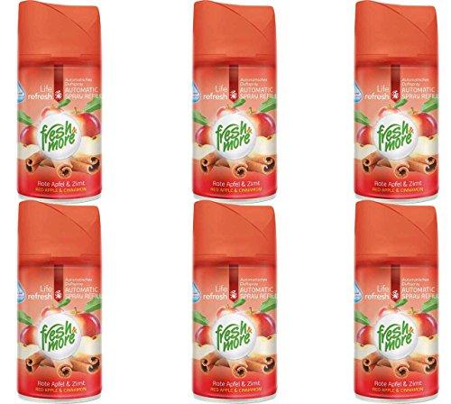6x Fresh & More Rote Apfel&Zimt Nachfüller Für Automatische Duftspender, 250ml