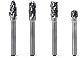 Carbide Burrs Set 4pcs JESTUOUS 1/4 Inch Shank Diameter Aluminum Cutting Bur Single Cutting Edge for Die Grinder
