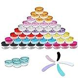 Envases para Cosmetica,50 Rellenable Transparente Tarros De Plastico con Tapa Pequeño,Tapones De Rosca en 10 Colores+ 5 Mini Espátulas para Viaje/Crema/Polvo/Loción/Cristal/Gel Muestra Frascos