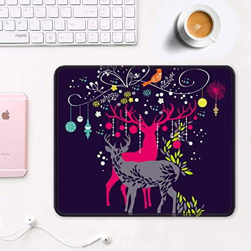 """Auhoahsil Mouse Pad, Square Moose Theme Anti-Slip Rubber Mousepad with Stitched Edges for Office Gaming Laptop Computer Men Women, Beautiful Custom Pattern, 11.8"""" x 9.8"""", Deer and Christmas Tree Photo #7"""