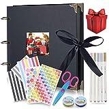 Jeteven Scrapbook,Álbum de Fotos 20 x 30 cm con 40 hojas de papel kraft A4 (80 páginas) y Accesorios de decoracion, Álbum de fotos DIY, regalos para aniversarios y cumpleaños