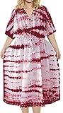 LA LEELA Mujeres Caftán Algodón túnica Tie Dye Kimono Libre tamaño Largo Maxi Vestido de Fiesta para Loungewear Vacaciones Ropa de Dormir Playa Todos los días Cubrir Vestidos Rosa_T875