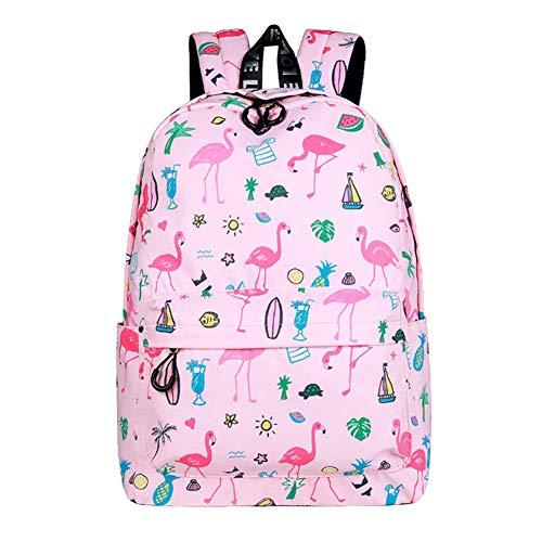Thumby Student Rugzak vrouwelijk spatwaterdicht Flamingo Print Rugzak Pink Wild Cute Bags grote reistas