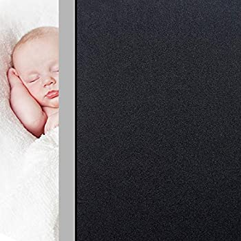 HIDBEA Blackout Window Film Privacy Room Darkening Opaque Window Tint Light Blocking Static Cling Glass Coverings Removable Daytime Sleep Baby Naps  Black,17.4 Inch x 6.5 Feet
