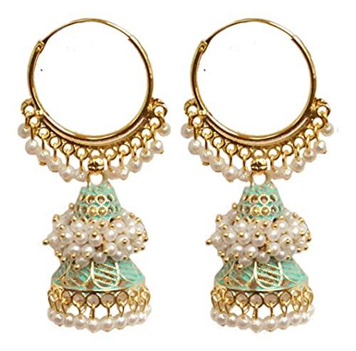 Pahal étnico Bollywood Jaipur - Pendientes de aro con perla pintada en color verde claro de oro indio, Jhumka, joyería nupcial para mujer