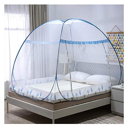 DUXY Folding Mosquito Net, Anti Mosquito Nets Pop Up Bed Tent with Bottom Nettings Portable for Baby Toddlers Kids Adult,Blue,120x200cm