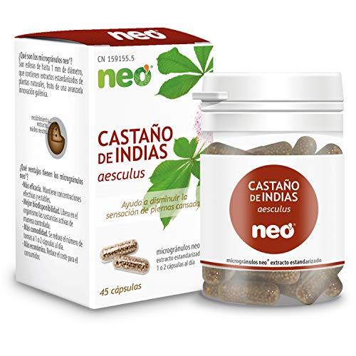 NEO | Extracto de Semillas de Castaño de Indias 200 mg | 45 Cápsulas Naturales |Ayuda a Mejorar la Sensación de Piernas Cansadas | Libre de Alérgenos y GMO | Tomar 1 o 2 al Día | Liberación Rápida