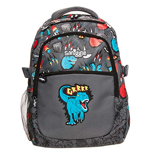 Smiggle Explore Attachable School Backpack for Boys & Girls with Laptop Compartment | Dinosaur Print