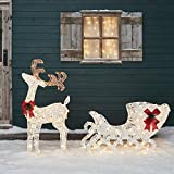Lights4fun, Inc. 3ft Reindeer & Sleigh Pre-Lit LED Christmas Light Up Figures Decoration