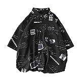 MIMIPO シャツ メンズ 半袖 長袖 カジュアル スポーツ 綿 夏服 オシャレ ヒップシャツ ブラック ホワイト M-XL (ブラック, XL)