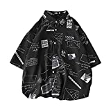 MIMIPO シャツ メンズ 半袖 長袖 カジュアル スポーツ 綿 夏服 オシャレ ヒップシャツ ブラック ホワイト M-XL (ブラック, L)