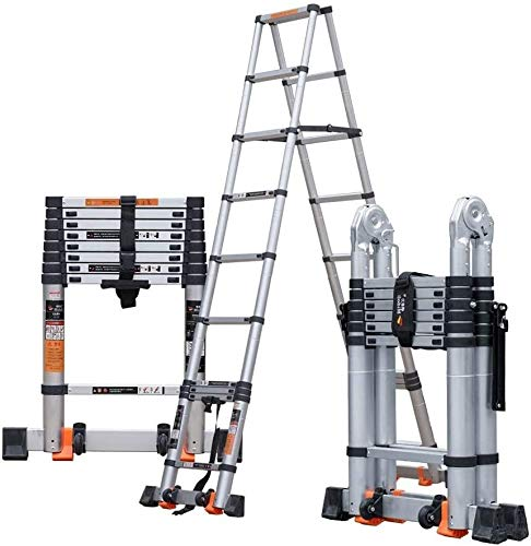lyqqqq Telescopic Ladder Multi-Purpose Ladder, Aluminium Extendable Ladders, Portable Foldable Ladder for Loft Indoor Outdoor Office House (Size : 3.1+3.1m/10.1+10.1ft)