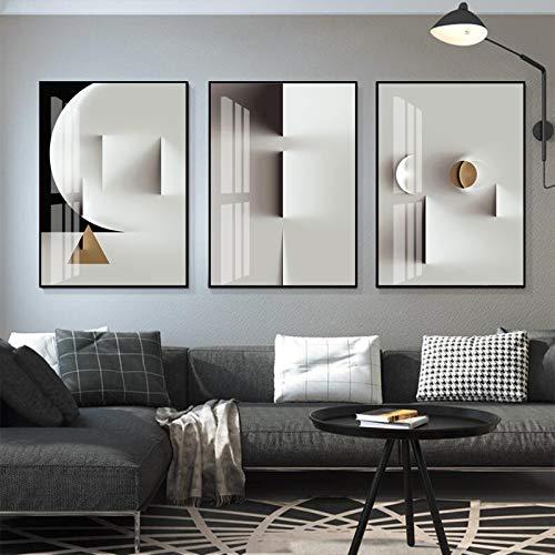 OKYQZ Póster Moderno en Blanco y Negro, impresión geométrica en Lienzo Dorado Mate, Pintura de Arte de Pared, Imagen Abstracta para Sala de Estar, decoración del hogar (60x80 cm) X3 sin Marco