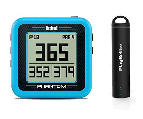Bushnell Phantom (Blue) Power Bundle with PlayBetter Portable USB Charger (2200mAh)   Handheld Golf GPS, Built-in Golf Cart Magnet, 35,000+ Pre-Loaded Courses, Compact & Lightweight