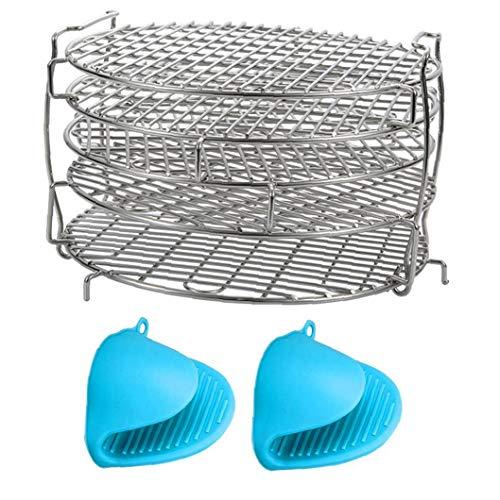 shentaotao Deshidratador Rack, deshidratador Estante del Soporte para Horno apilable, Soporte de Acero Inoxidable deshidratador para Suministros de Aire freidora de Cocina