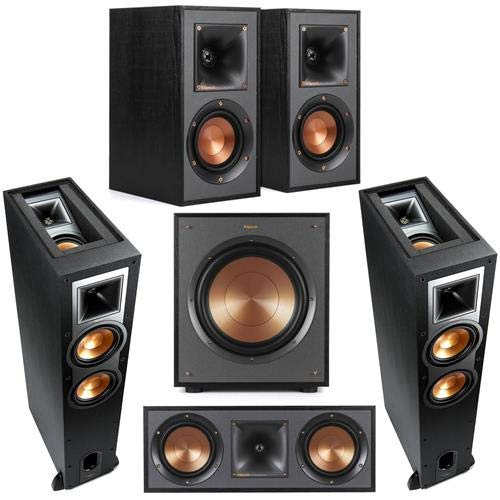 Best Prices! Klipsch 2 Pack R-26FA Dolby Atmos Speaker - Bundle with R-41M Bookshelf Home Speakers, ...