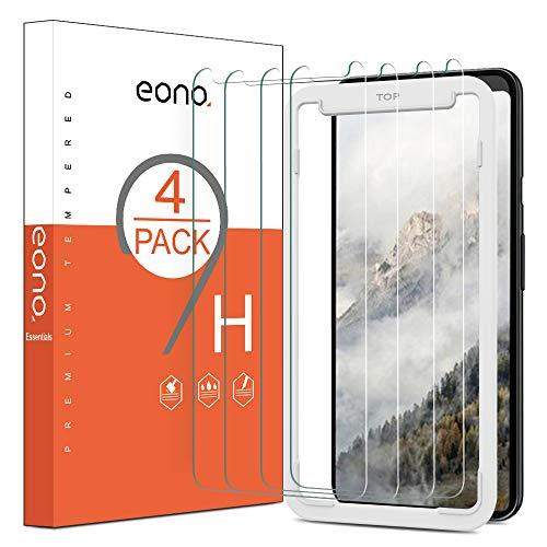 Eono Essentials [4 Stück] Panzerglas Bildschirmschutz für Google Pixel 4 XL, mit Positionierhilfe, Anti-Kratzen, Anti-Bläschen, Hülle Fre&lich